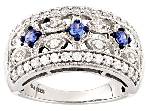 Lab Created Sapphire And White Cubic Zirconia Silver Ring 1.38ctw