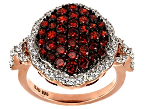 Red And White Cubic Zirconia 18k Rose Gold Over Silver Ring 3.74ctw (1.47ctw DEW)