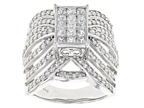 Cubic Zirconia Silver Ring 2.86ctw (1.65ctw DEW)