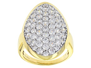 Cubic Zirconia 18k Yellow Gold Over Silver Ring 5.95ctw (2.92ctw DEW)