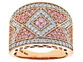 Pink And White Cubic Zirconia 18k Rose Gold Over Silver Ring 2.21ctw (.95ctw DEW)
