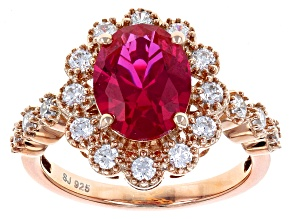 Synthetic Red Corundum And White Cubic Zirconia 18k Rose Gold Over Silver Ring 4.59ctw