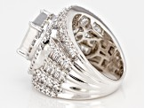 Cubic Zirconia Rhodium Over Sterling Silver Ring 8.30ctw (5.57ctw DEW)