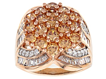 Picture of Brown And White Cubic Zirconia 18k Rose Gold Over Silver Ring 8.13ctw (4.93ctw DEW)