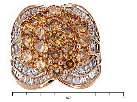 Brown And White Cubic Zirconia 18k Rose Gold Over Silver Ring 8.13ctw (4.93ctw DEW)