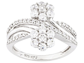 White Cubic Zirconia Rhodium Over Sterling Silver Ring 1.80ctw