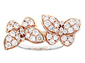 White Cubic Zirconia Rhodium Over Silver And 18k Rose Gold Over Silver Butterfly Ring 1.65ctw