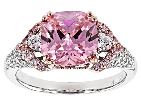 Pink And White Cubic Zirconia Rhodium Over Sterling Silver Ring 5.65ctw