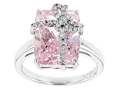 Pink And White Cubic Zirconia Rhodium Over Sterling Silver Ring 11.29ctw
