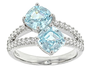 Blue And White Cubic Zirconia Rhodium Over Sterling Silver Ring 4.84ctw