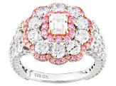 Pink & White Cubic Zirconia Rhodium Over Silver And 18k Rose Gold Over Silver Ring 5.76ctw