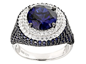 Synthetic Blue Corundum & White Cubic Zirconia Black & White Rhodium Silver Ring 9.04ctw