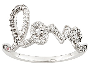 White Cubic Zirconia Rhodium Over Sterling Silver Love Ring .52ctw