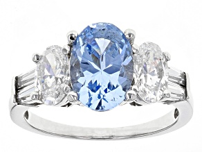 Blue Synthetic Spinel And White Cubic Zirconia Rhod Over Sterling Ring 5.39ctw