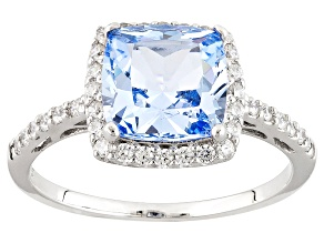 Blue Synthetic Spinel And White Cubic Zirconia Rhodium Over Sterling Ring 2.96ctw