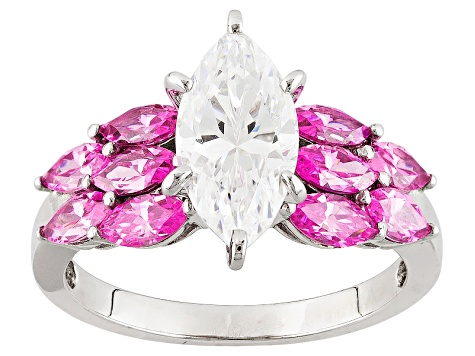 Pink And White Cubic Zirconia Rhodium Over Sterling Silver Ring 5.15ctw