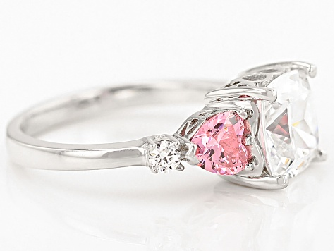 Pink And White Cubic Zirconia Rhodium Over Sterling Silver Heart Ring 6.92ctw