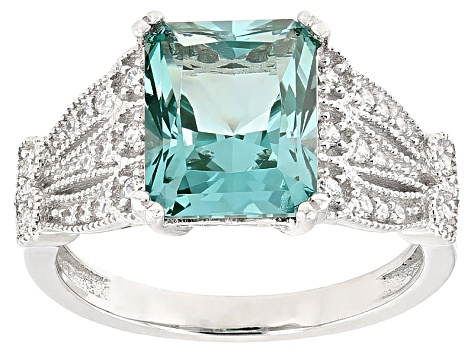 Lab Created Green Spinel And White Cubic Zirconia Rhodium Over Sterling Ring 4.07ctw