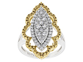 White Cubic Zirconia Rhodium Over Silver And 18k Yellow Gold Over Silver Ring 1.30ctw