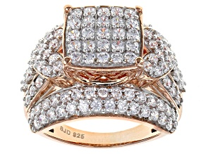 Cubic Zirconia 18k Rose Gold Over Silver Ring 3.65ctw (1.82ctw DEW)