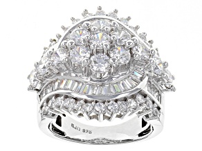 Cubic Zirconia Silver Ring 6.77ctw (4.71ctw DEW)