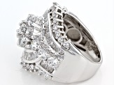 Cubic Zirconia Rhodium Over Sterling Silver Ring 6.77ctw (4.71ctw DEW)
