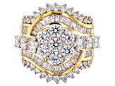 White Cubic Zirconia 18k Yellow Gold Over Silver 6.77ctw (4.71ctw DEW)