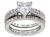 White And Pink Cubic Zirconia Silver Ring With 2 Bands 3.19ctw (1.97ctw DEW)