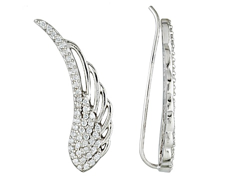 e10f3bae4 White Cubic Zirconia Rhodium Over Sterling Silver Angel Wing Earrings .65ctw