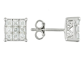 Cubic Zirocnia Silver Earrings 1.45ctw (1.08ctw DEW)