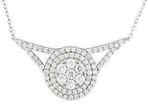 Cubic Zirconia Silver Necklace 3.40ctw (1.86ctw DEW)