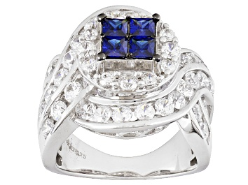 Picture of Blue And White Cubic Zirconia Silver Ring 5.87ctw