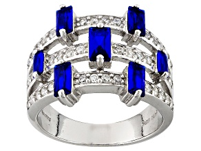 Synthetic Blue Spinel And White Cubic Zirconia Silver Ring 1.95ctw