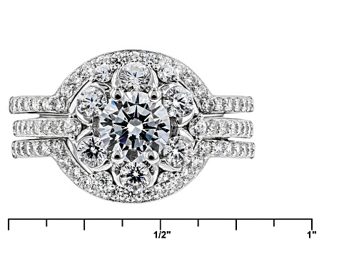 White Cubic Zirconia Rhodium Over Sterling Silver Ring With Bands 4.42ctw