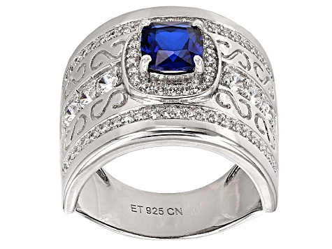 Synthetic Blue Spinel And White Cubic Zirconia Rhodium Over Sterling Ring 2.58ctw