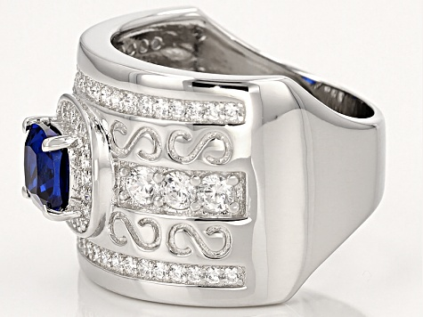 Lab Created Blue Spinel And White Cubic Zirconia Rhodium Over Sterling Ring 2.58ctw