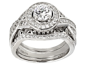 White Cubic Zirconia Rhodium Over Sterling Silver Ring With Bands 3.62ctw
