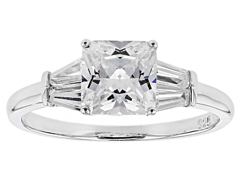 White Cubic Zirconia Rhodium Over Sterling Silver Ring 2.98ctw
