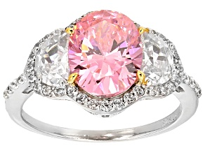 Pink And White Cubic Zirconia Rhodium Over Sterling Silver Ring 6.77ctw