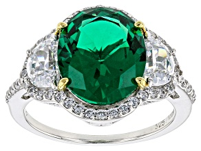 Green Nanocrystal And White Cubic Zirconia Rhodium Over Sterling Ring 7.99ctw