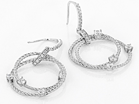 White Cubic Zirconia Rhodium Over Sterling Silver Earrings 2.04ctw