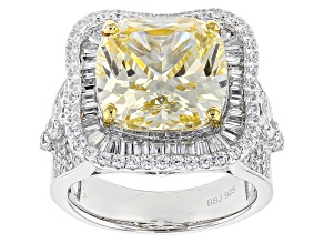 Yellow And White Cubic Zirconia Rhodium Over Sterling Silver Ring 14.37ctw