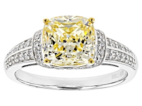 Yellow And White Cubic Zirconia Rhodium Over Sterling Silver Ring 4.13ctw