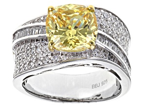Yellow And White Cubic Zirconia Rhodium Over Sterling Silver Ring 6.83ctw