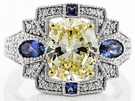 Lab Created Blue Sapphire,Yellow, & White Cubic Zirconia Rhodium Over Sterling Ring 8.33ctw