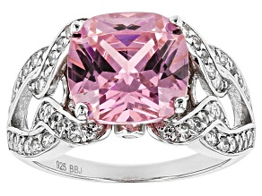 Pink And White Cubic Zirconia Rhodium Over Sterling Silver Ring 9.36ctw