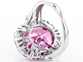 Pink And White Cubic Zirconia Rhodium Over Sterling Silver Ring 17.80ctw
