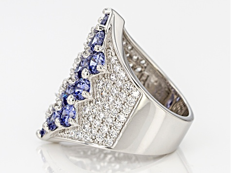 Blue And White Cubic Zirconia Rhodium Over Sterling Silver Ring 10.11ctw