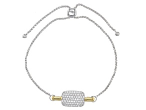 Cubic Zirconia Silver And 18k Yellow Gold Over Silver Sliding Bracelet .91ctw (.61ctw DEW)