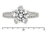 Cubic Zirconia Rhodium Over Sterling Silver Ring 3.81ctw (2.57ctw DEW)